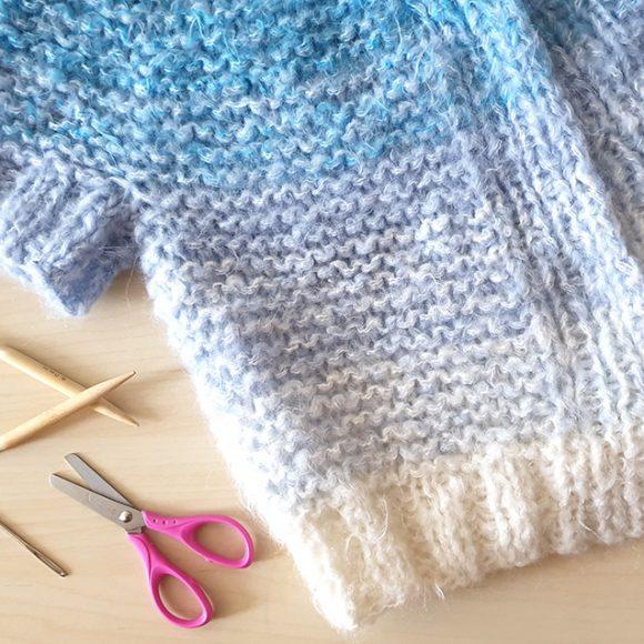 """Жилетка """"Пудинг"""": разделяне и плетене на ръкавите и тялото"""