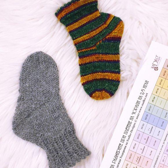Как да използваме Таблицата на размерите на Nadko Designs за изплитането на желания размер чорапи